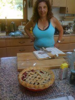 Mom and blackberry pie
